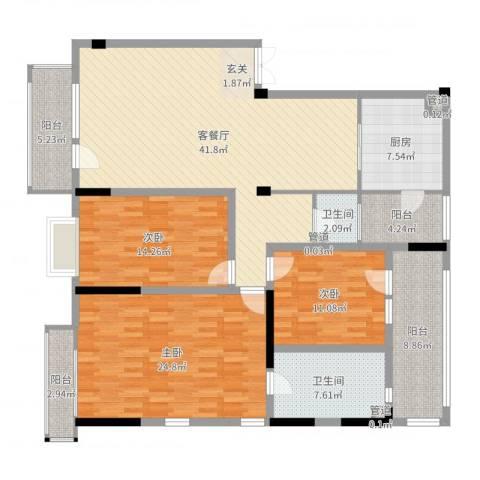 U-WORLD优品天地3室2厅2卫1厨163.00㎡户型图