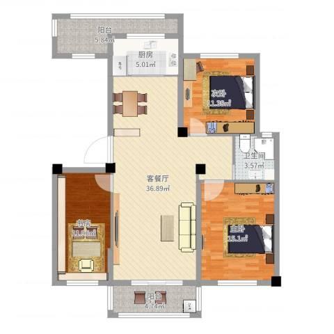 青林嘉园3室2厅1卫1厨118.00㎡户型图