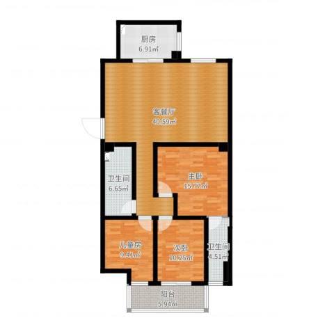 博大尚居3室2厅2卫1厨125.00㎡户型图