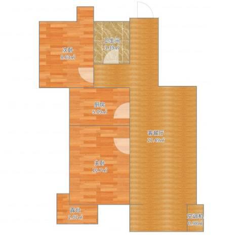 金屋秦皇半岛2室2厅1卫1厨73.00㎡户型图