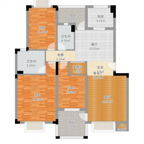 汉口春天(二期)3室2厅2卫1厨138.00㎡户型图