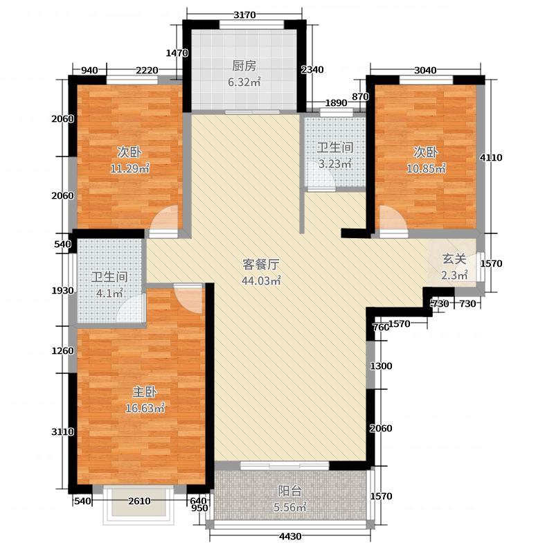 国安悦府128.33㎡户型3室3厅2卫1厨