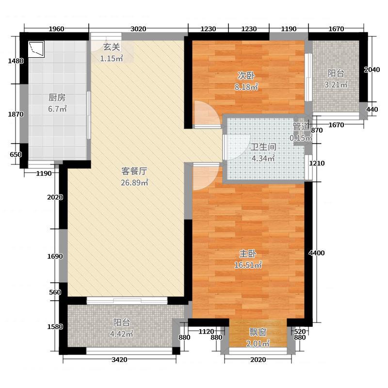 绿地西水东88.00㎡熙第B户型2室2厅1卫1厨