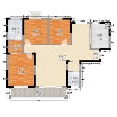 麓景裕园3室2厅2卫1厨132.00㎡户型图