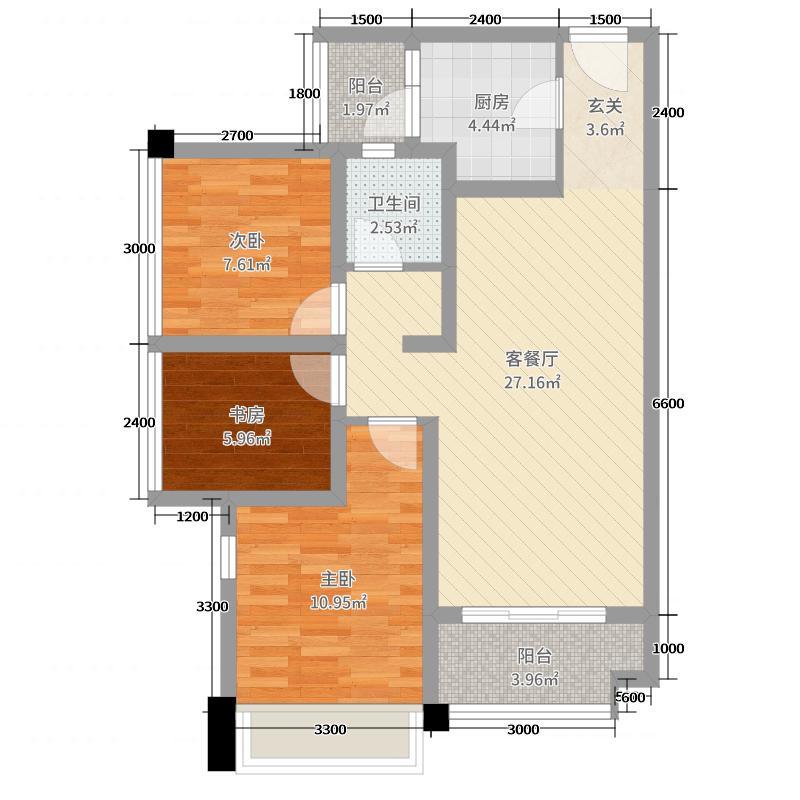 南湖壹号85.60㎡C户型3室3厅1卫1厨