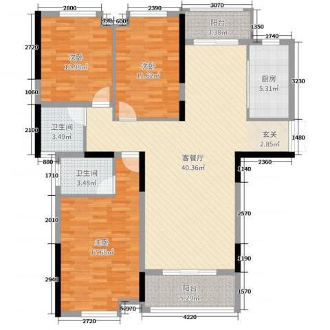 暨阳上河园二期3室2厅2卫1厨127.00㎡户型图