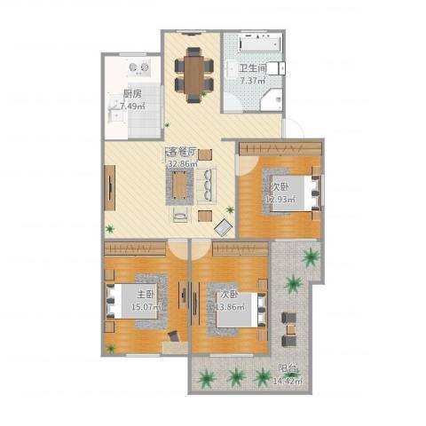 法院宿舍3室2厅1卫1厨130.00㎡户型图