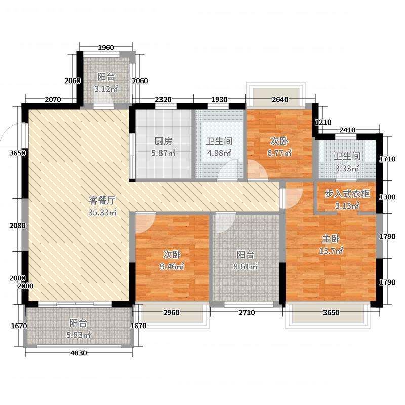 赛格・都邦国际124.49㎡B1户型4室4厅2卫1厨