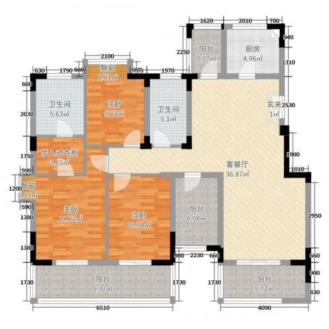 九龙仓时代上城3室2厅2卫1厨143.00㎡户型图