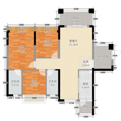 大福名城・御景湾3室2厅2卫1厨114.00㎡户型图