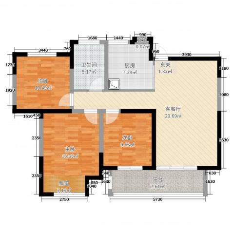 九龙仓时代上城3室2厅1卫1厨107.00㎡户型图