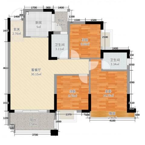 大福名城・御景湾3室2厅2卫1厨104.00㎡户型图