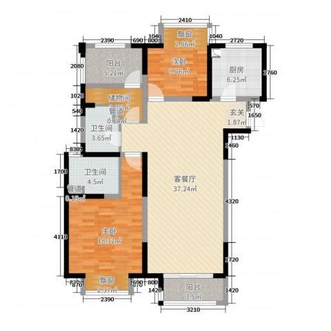 九龙仓时代上城2室2厅2卫1厨115.00㎡户型图