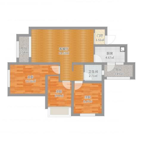 合能璞丽3室2厅1卫1厨82.00㎡户型图