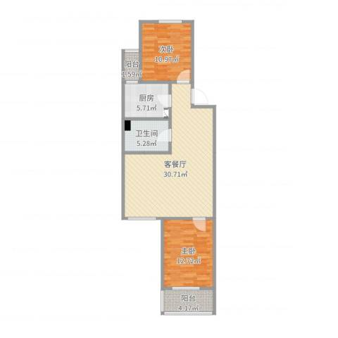 '通州区'华兴园19号楼8单元6022室2厅1卫1厨89.00㎡户型图