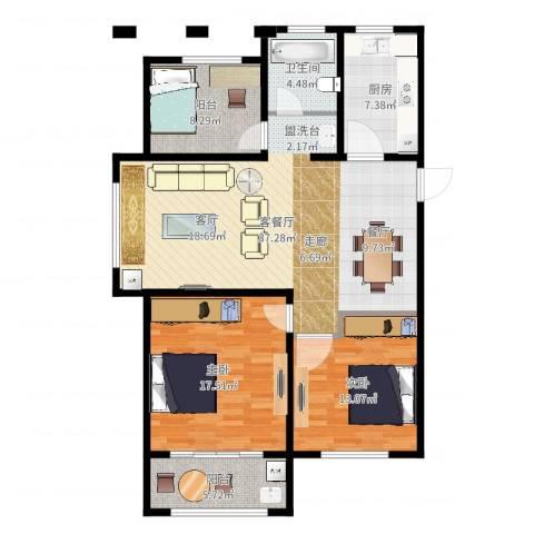湖港名城2室2厅1卫1厨117.00㎡户型图