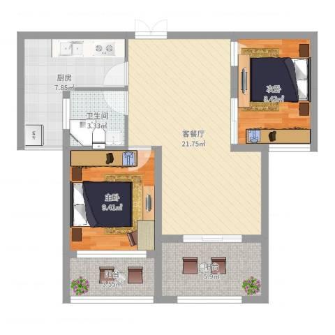 荣昌绿园2室2厅1卫1厨75.00㎡户型图