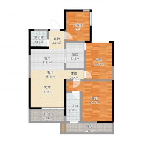 保利东湾国际3室1厅2卫1厨107.00㎡户型图
