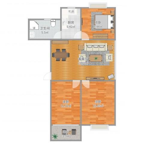嵛景华城3室2厅1卫1厨91.00㎡户型图