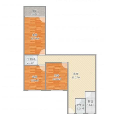 怡安花园3室1厅2卫1厨87.00㎡户型图