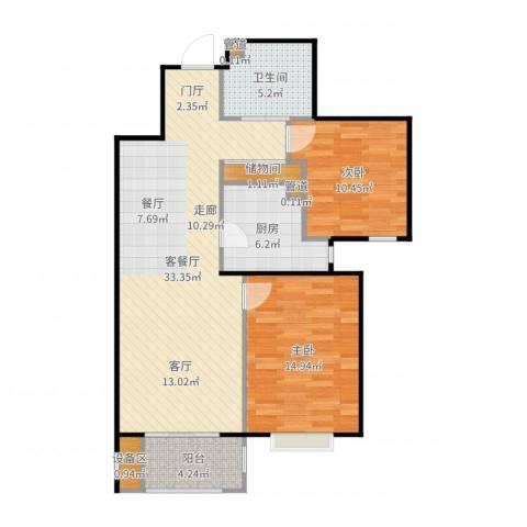 首创・悦树湾2室2厅1卫1厨96.00㎡户型图