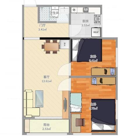 八角北里2室1厅1卫1厨51.00㎡户型图