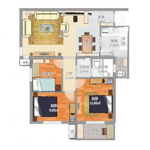 圣淘沙3室1厅2卫1厨95.00㎡户型图
