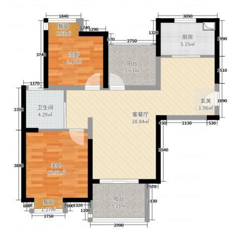 九龙仓时代上城2室2厅1卫1厨89.00㎡户型图