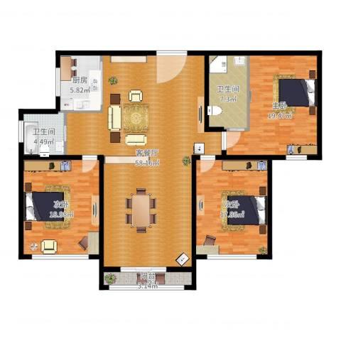 上城uptown3室2厅2卫1厨169.00㎡户型图