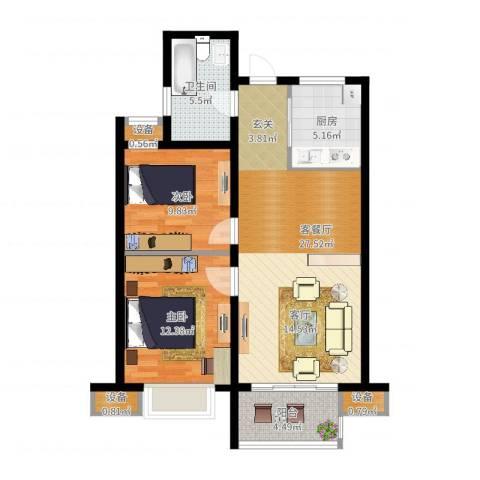 国耀星达城2室2厅1卫1厨96.00㎡户型图