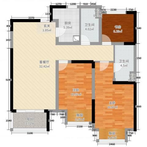 九龙仓时代上城3室2厅2卫1厨108.00㎡户型图
