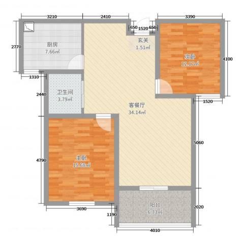 文鑫花园2室2厅1卫1厨80.16㎡户型图