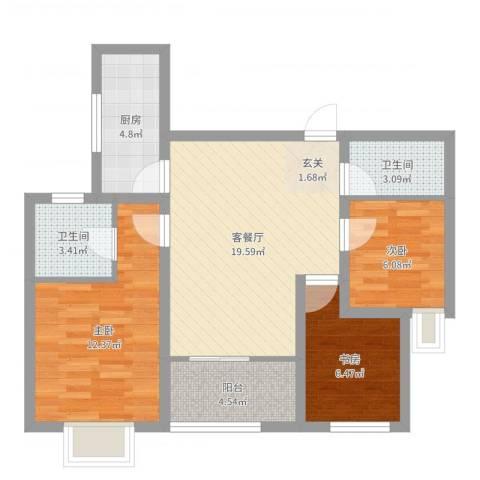 世家英伦3室2厅2卫1厨75.00㎡户型图