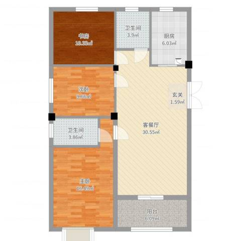 皇冠花园3室2厅2卫1厨109.00㎡户型图