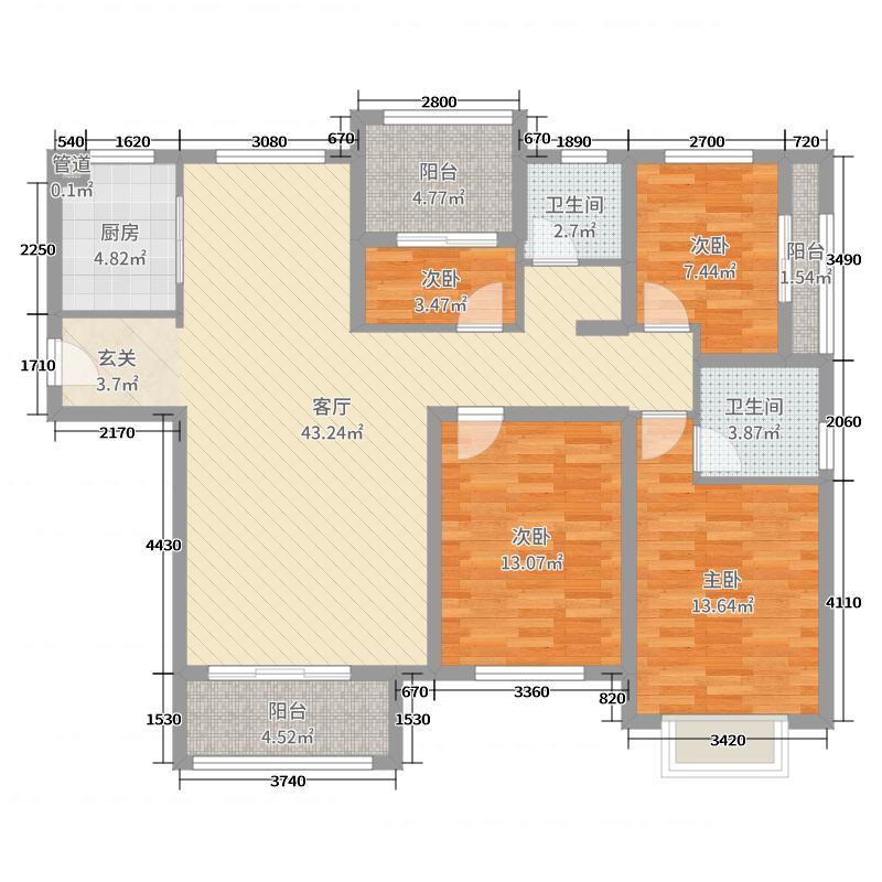 好景家园129.00㎡A3户型4室4厅2卫1厨