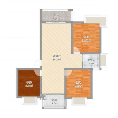 沃得雅苑3室2厅1卫1厨90.00㎡户型图