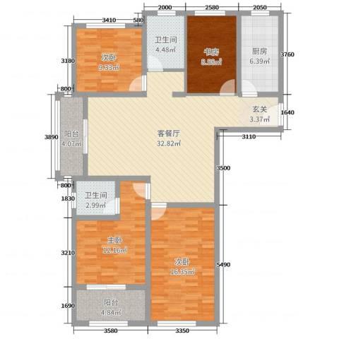金河国际花苑4室2厅2卫1厨127.00㎡户型图