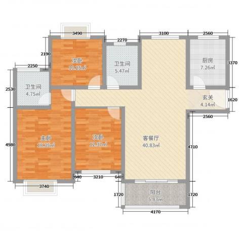 金河国际花苑3室2厅2卫1厨132.00㎡户型图
