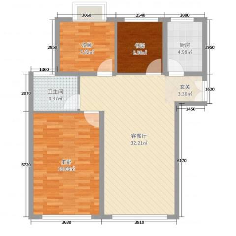 金河国际花苑3室2厅1卫1厨94.00㎡户型图