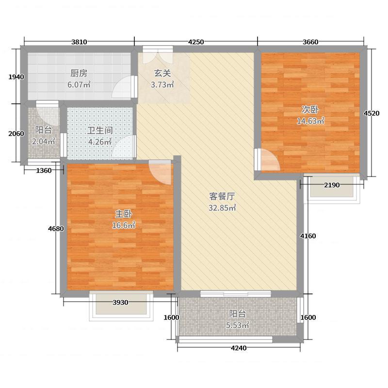 金河国际花苑102.00㎡1#、2#楼中间户B户型2室2厅1卫1厨