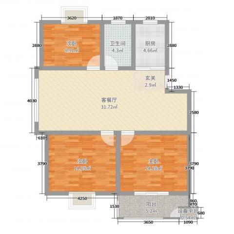 中科碧水豪庭3室2厅1卫1厨105.00㎡户型图