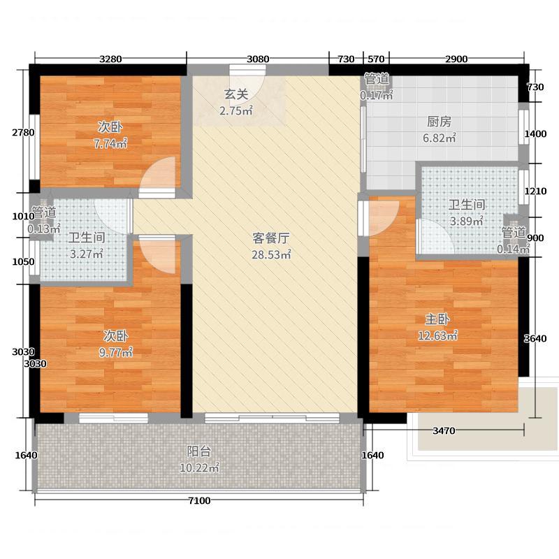 碧桂园茶山首府112.00㎡户型3室3厅2卫1厨