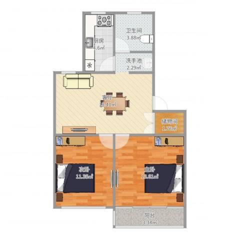 东陆新村九街坊2室1厅1卫1厨71.00㎡户型图