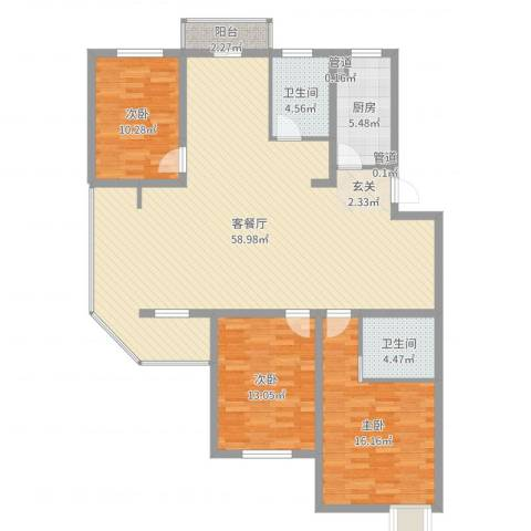 冠达豪景东苑3室2厅2卫1厨144.00㎡户型图