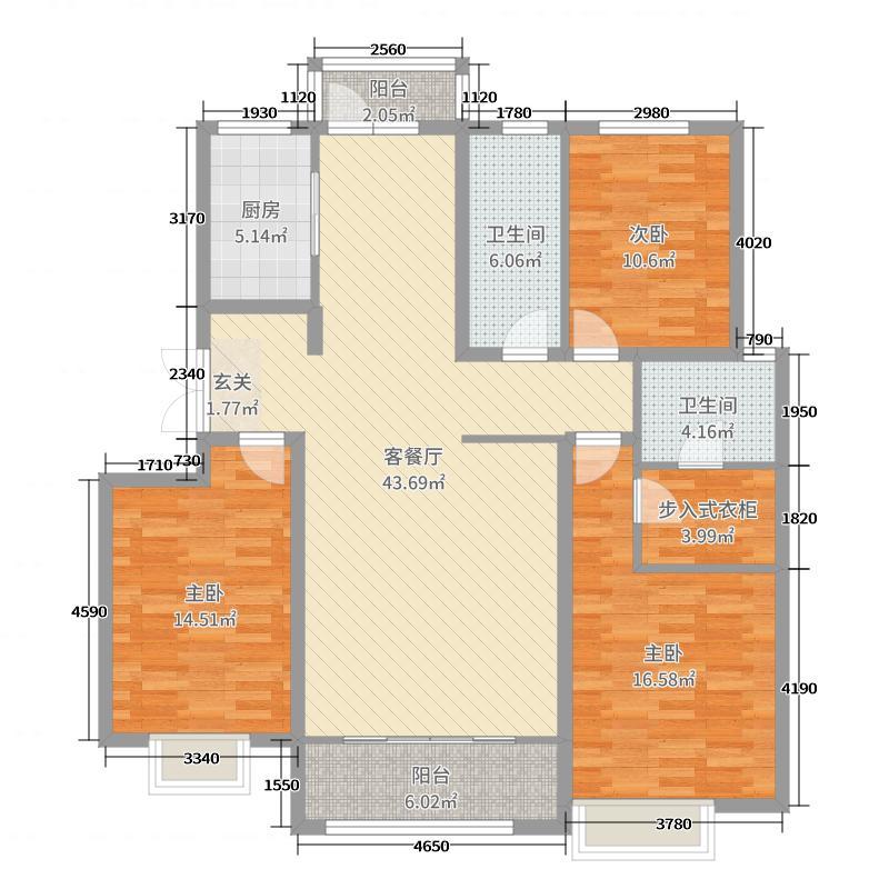 中国铁建・山语观邸141.00㎡F户型3室3厅2卫1厨