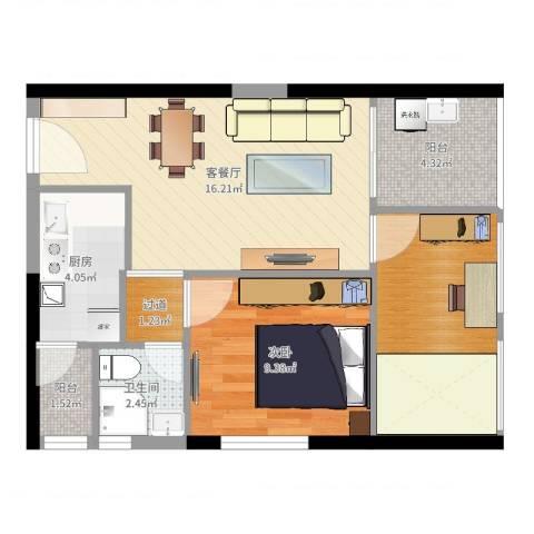 中梁v城市1室2厅1卫1厨60.00㎡户型图