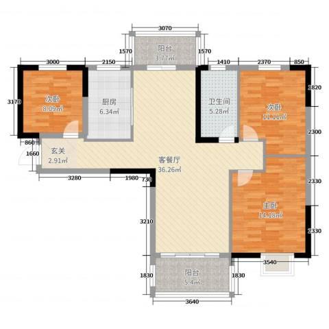 鸿威鸿景雅园3室2厅1卫1厨113.00㎡户型图