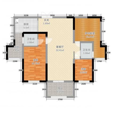 万景城2室2厅2卫1厨113.00㎡户型图