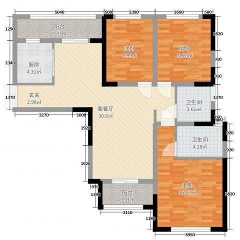万景城3室2厅2卫1厨108.00㎡户型图