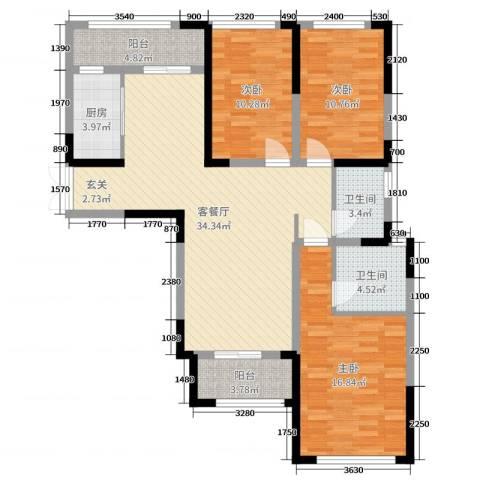 万景城3室2厅2卫1厨116.00㎡户型图